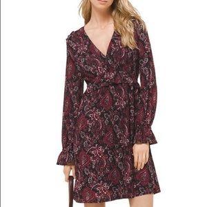 Michael Kors Shirred Ruffle Sleeve Dress